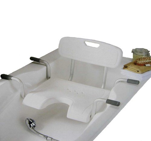 Premium Badewannensitz mit Rückenlehne / Senioren Badesitz mit Hygieneausschnitt