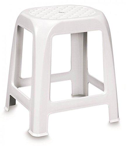 Hocker mit Sitzfläche im Rattan-Design, Kunststoff, Weiß - ideal für Bad und Dusche sowie als Ablage oder Tritt