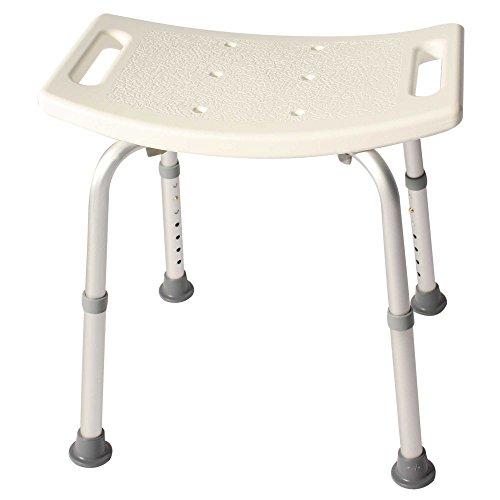 Duschhocker Duschhilfe Duschsitz Höhenverstellbar Rechteckig aus Alu und Kunststoff