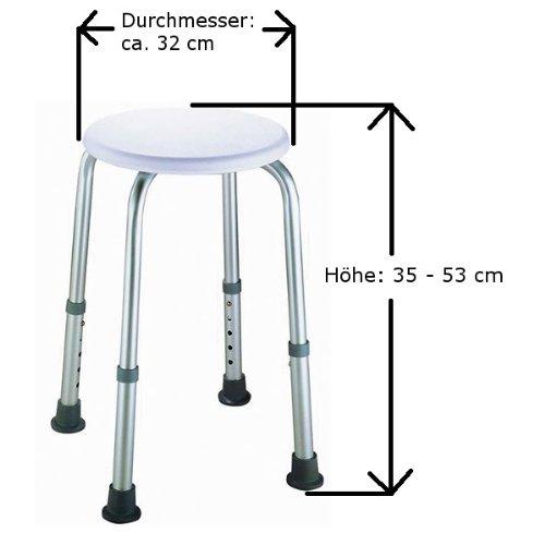 Duschhocker rund AM011, höhenverstellbar, handlich, rostfrei -