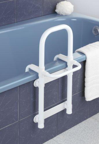 WENKO 8110100 Badewannen-Einstiegshilfe Secura Weiß - verstellbar, 120 kg Tragkraft, Aluminium, 23 x 52.5 x 24.5 cm, Weiß -
