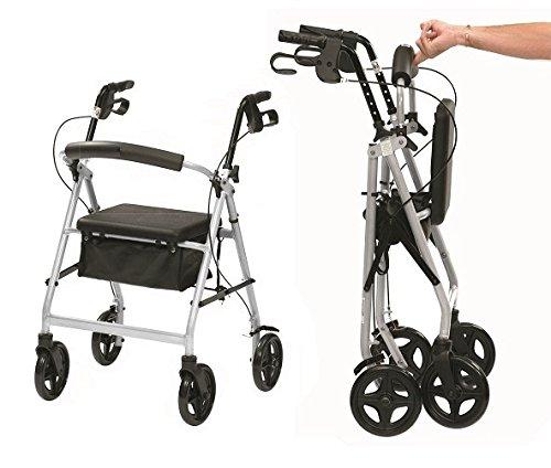Ultraleichte Aluminium-Klapp Rollator mit Sitz und Bremsen