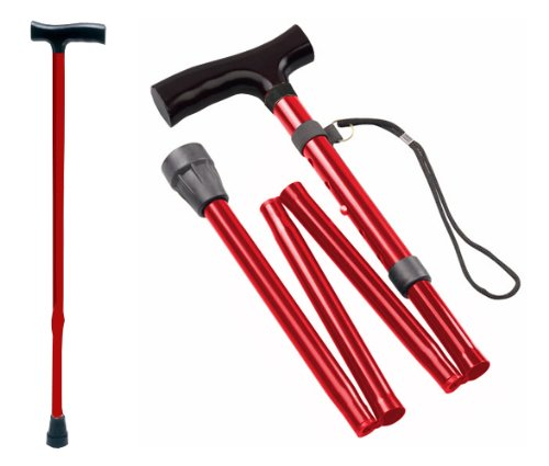 Gehstock Krückstock Spazierstock Aluminium Rot 1 Stück Wanderstock Gehhilfe Tiga-Med Gehstöcke Krücken Krückstöcke Faltstock Faltstöcke